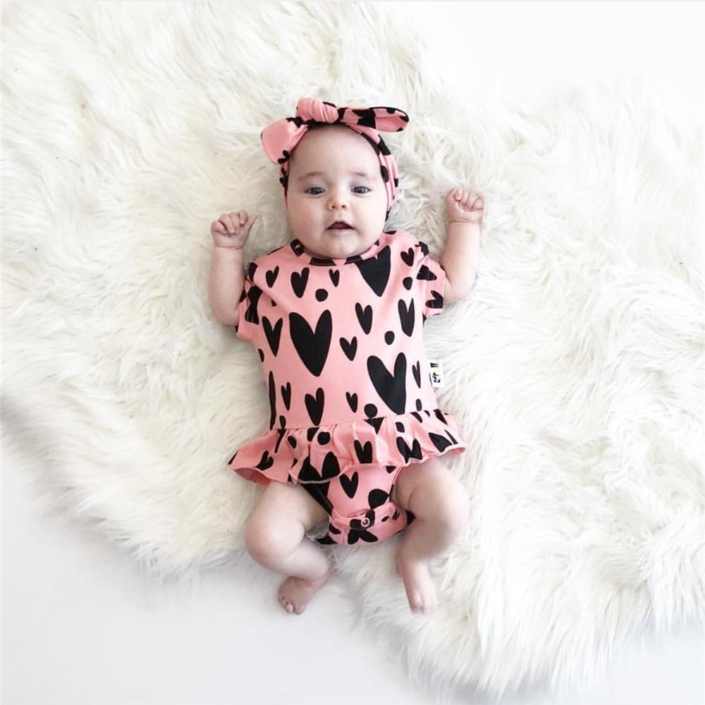 Newborn Baby Girl Bodysuit Cute Baby Clothes Heart ...