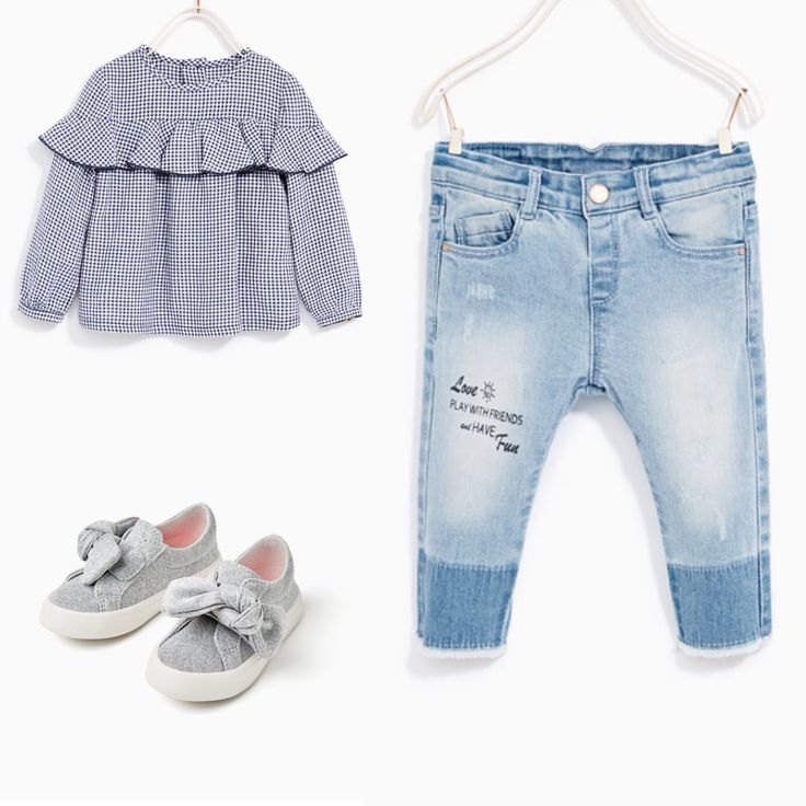 Zara baby girl outfit idea. Gingham frilled shirt, jeans ...