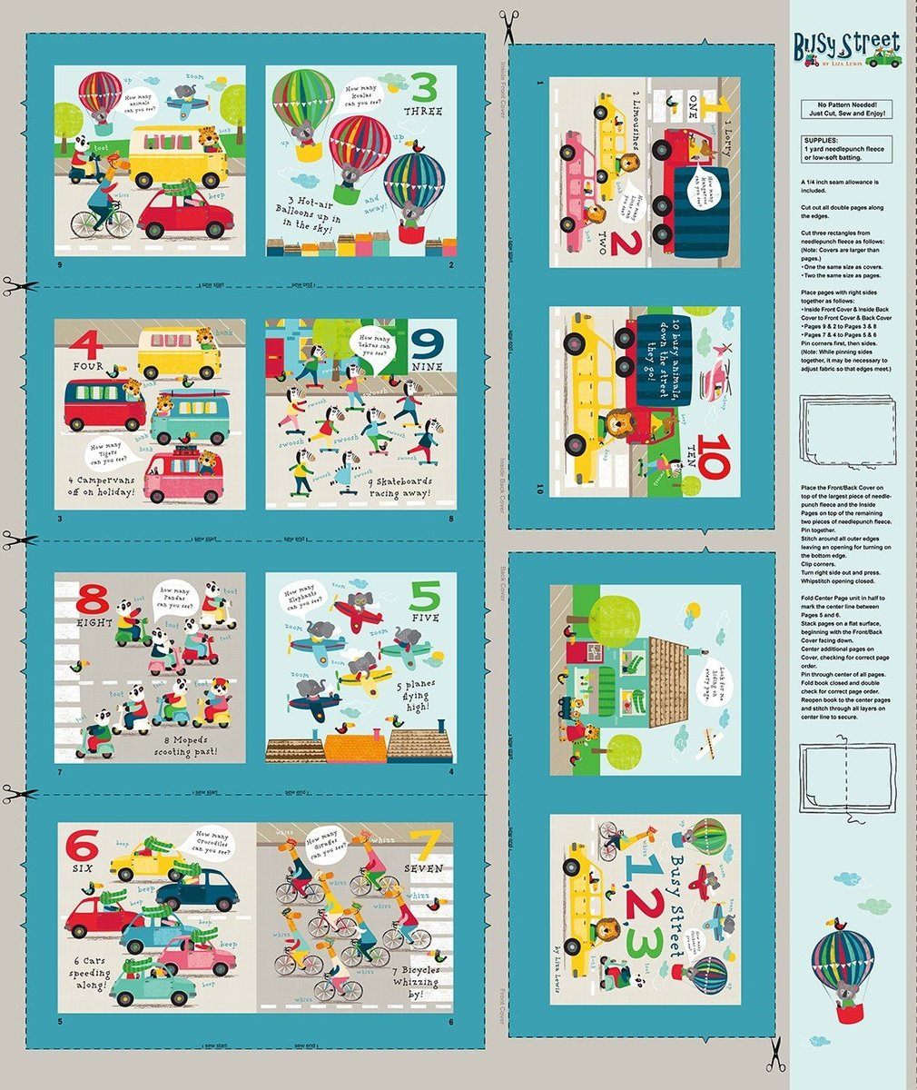 Busy Street Multi Storybook Digital Panel 24″x 44″ by Liza ...