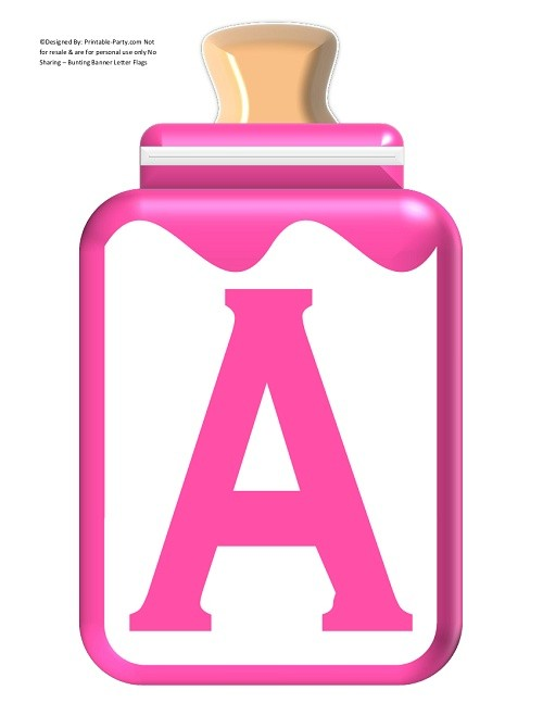 LARGE-PINK-BABY-BOTTLE-BANNER-LETTERS - Printable-Party.com