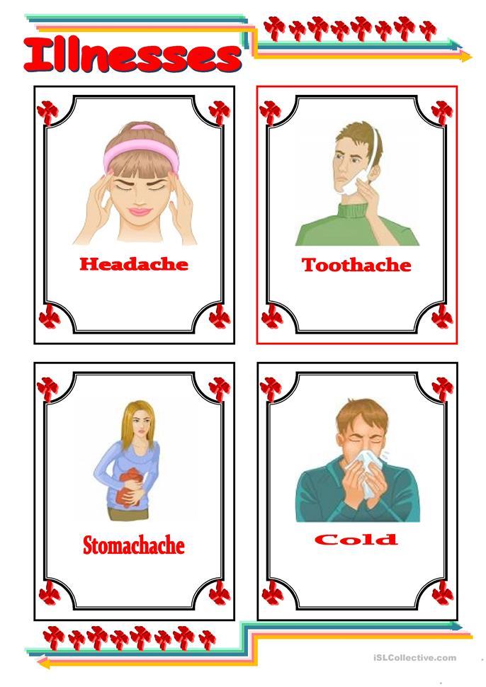 common illnesses flashcards worksheet - Free ESL printable ...